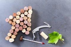 Cork стрелка, консервооткрыватель бутылки, термометр и лист Стоковые Изображения RF