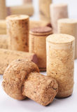 Cork. Many different wine cork on plain background Royalty Free Stock Photos