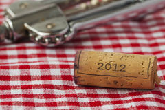 Cork of 2012. Wine bottle cork with year date 2012 written on Stock Images