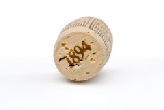 Wine cork. With date isolated on white Royalty Free Stock Photos