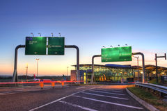 Cork airport at nsunset. Sunset over airport in Cork - Ireland - HDR Royalty Free Stock Photo