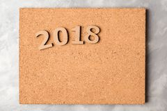 2018 on cork board Royalty Free Stock Image