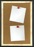 Cork board. Image of cork board with blank paper and pins Royalty Free Stock Photography