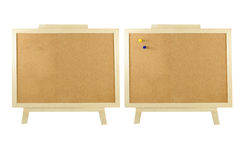 Cork board. Two cork board with yellow and blue pin on isolate Royalty Free Stock Images