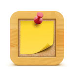 Cork board. Vector illustration of post it note in on the cork bulletin board with wood frame Royalty Free Stock Image