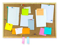 Cork board. With notes, clipping path included Stock Images