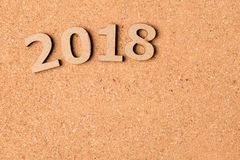 2018 on cork board Stock Images