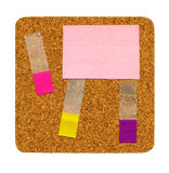 Cork board. With sticky notes isolated on white Royalty Free Stock Photos