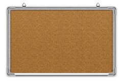 Cork board in aluminium frame. Isolated on white Royalty Free Stock Image