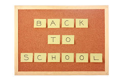 Cork board with back to school note Stock Image