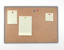 Cork board background with announcements and empty space Royalty Free Stock Image