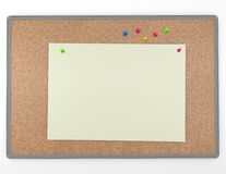 Cork board background texture with blank information note paper Royalty Free Stock Photos