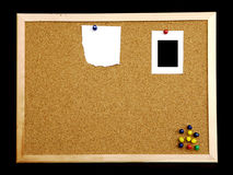 Cork board on black background Stock Photos