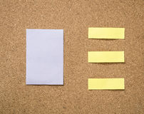 Cork board with blank note paper Stock Photography
