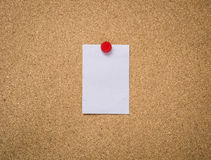 Cork board with blank note paper Stock Photos