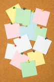 Cork board with blank notes. Cork notice board with blank paper notes Royalty Free Stock Photo