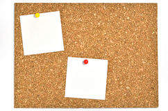 Cork board and blank notes. Stock Images