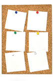 Cork board and blank notes. Royalty Free Stock Photos