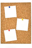 Cork board and blank notes. Stock Photography