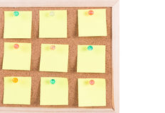Cork board with blank notes Royalty Free Stock Photo