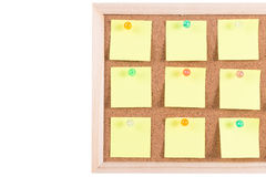 Cork board with blank notes Royalty Free Stock Image