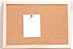 Cork board with blank notes, isolated on white Royalty Free Stock Photos