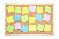 Cork board with blank notes Stock Image