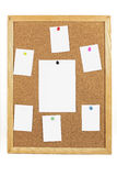 Cork board with blank paper notes Stock Image