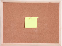 Cork board and blank paper white isolated Royalty Free Stock Images