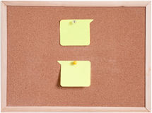 Cork board and blank paper white isolated Stock Images