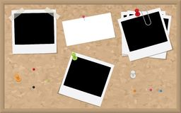 Cork Board with Blank Photographs and Card Stock Photos