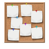 Cork board with blank sticker notes Stock Image