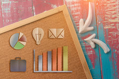 Cork board and business icon paper cut Stock Images