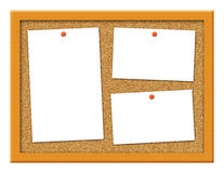 Cork Board with Crooked Notes Illustration. Cork board illustration with blank tacked note paper Royalty Free Stock Images
