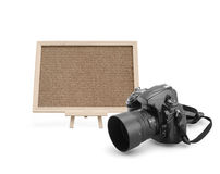 Cork board with digital camera Stock Photography