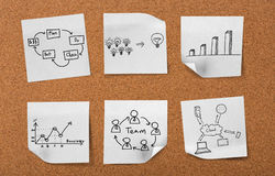 Cork board with drawing business concept notes Stock Photography