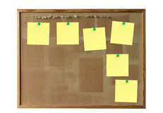 Cork board with empty post-its Royalty Free Stock Photography