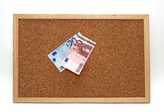 Cork board euro notes Stock Photo
