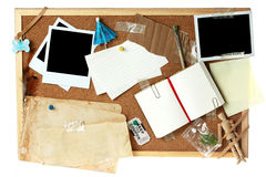 Cork board full of blank items