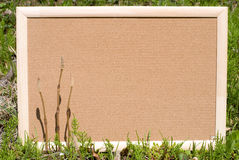 Cork board in grassy place Royalty Free Stock Photography