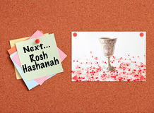 Cork board with Jewish holiday - Rosh Hashanah related theme Royalty Free Stock Images