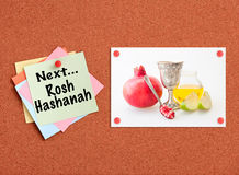 Cork board with Jewish holiday - Rosh Hashanah related theme Royalty Free Stock Photos