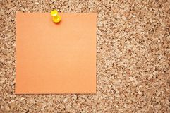 Cork board with memo note Royalty Free Stock Image