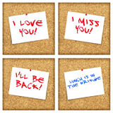 Cork board messages Royalty Free Stock Photo