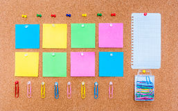 Cork board with multicolor notes, clipping path included Royalty Free Stock Photo