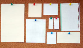 Cork board. Mushroom clipboard in various sizes and paper hanging Stock Photos