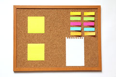 Cork board with note paper on white background Royalty Free Stock Image