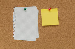 Cork board and note papers Royalty Free Stock Images