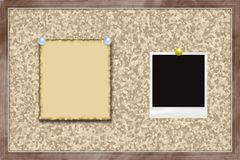 Cork board with note and photo card. Royalty Free Stock Images