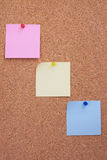 Cork board with notes. Cork board with color empty notes Royalty Free Stock Photography